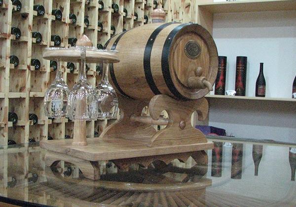 杯架式3L本色橡木桶